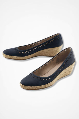 """Derely"" Nubuck Leather Wedges by Easy Spirit®, Navy, large"
