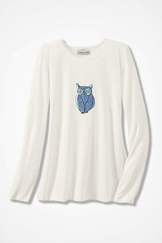 Wise Owl Knit PJ Top, Ivory, large