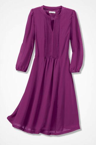 Flatter-and-Flow Pintucked Dress, Azalea, large