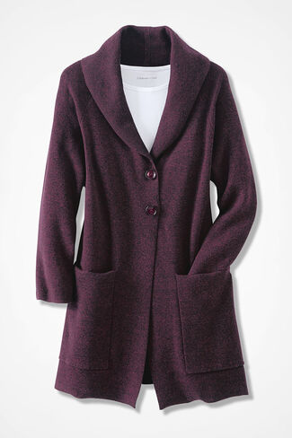 Heathered Hillside Sweater Coat, Blackberry, large
