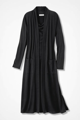 Long Story Open Duster, Black, large