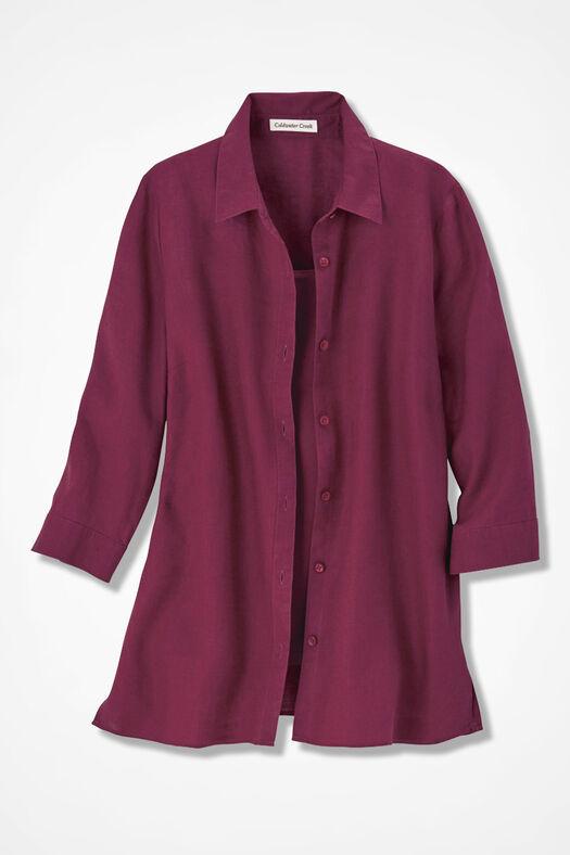 Linen Big Shirt, Garnet, large