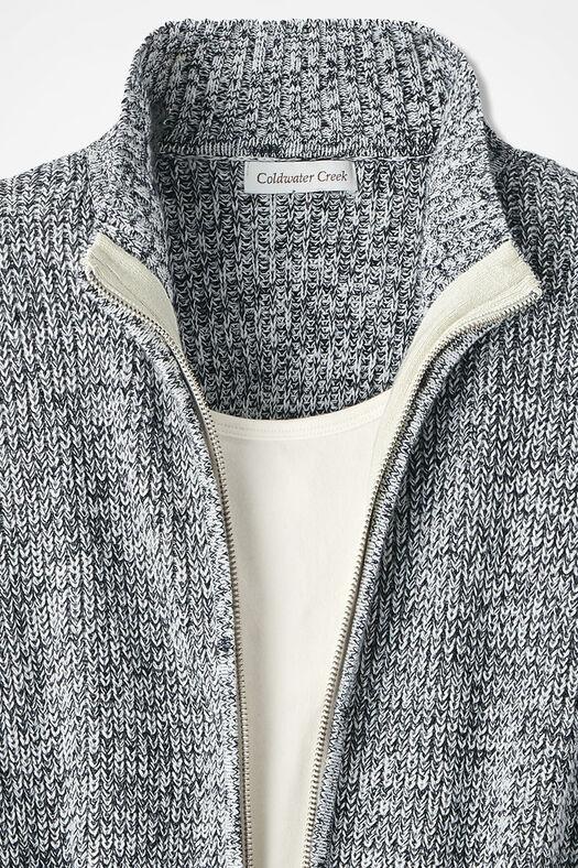 Shaker Zip-Front Cardigan, Black/Ivory, large