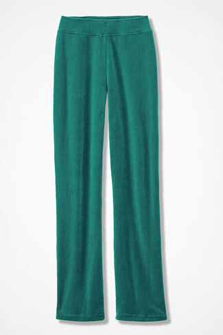 Velour du Jour Straight-Leg Pants, Emerald, large