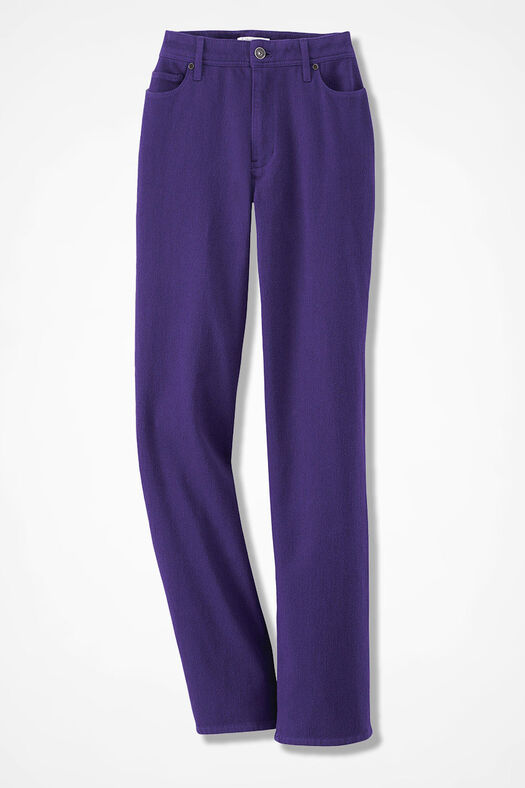 Knit Denim Straight-Leg Jeans, Dark Purple, large