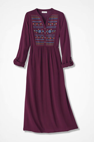 Folkloric Embroidered Dress, Wine, large