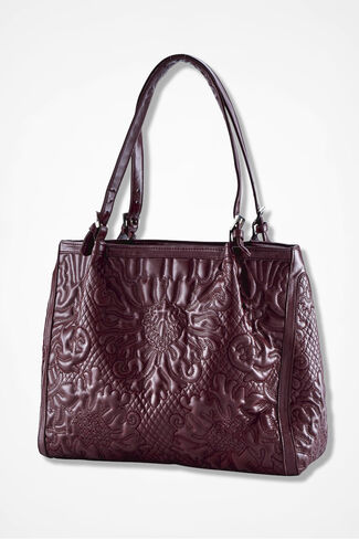 """""""Passages"""" Embossed Bag, Wine, large"""