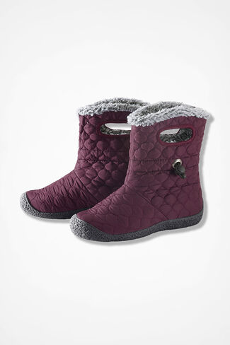 """Vista"" Quilted Fleece Boots by Walk With Me™, Blackberry, large"