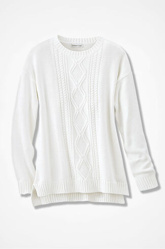 Wintertide Cabled Sweater, Ivory, large