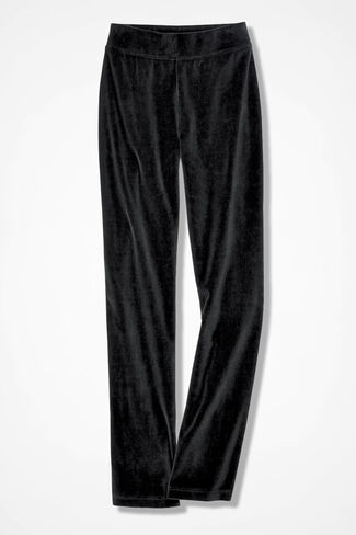Velour du Jour Straight-Leg Pants, Black, large