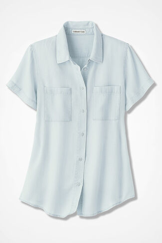 NEW Relaxed Tencel® Shirt, Pale Wash, large
