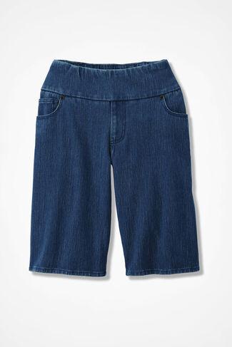 Knit Denim Pull-On Shorts, Medium Wash, large