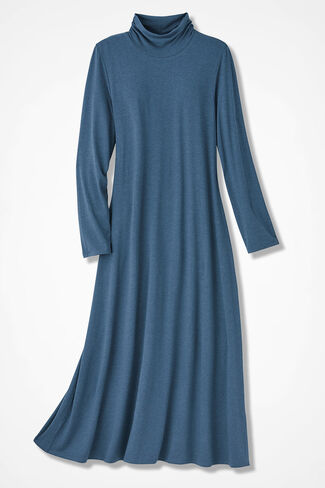 Ruched-Neck Maxi Dress, Mineral Blue, large