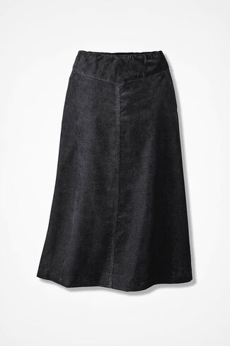 Pull-On Pincord Skirt, Black, large
