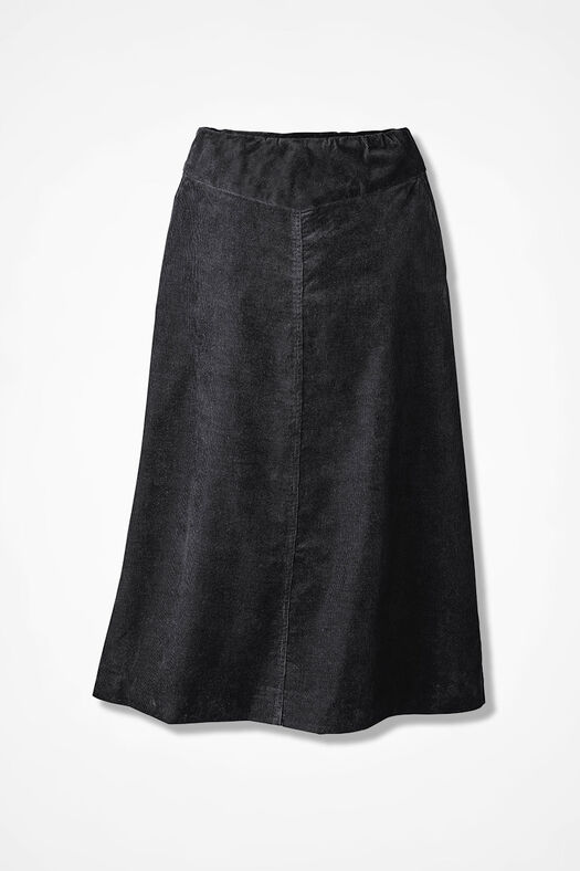 Pull-On Pincord Skirt, Black, large