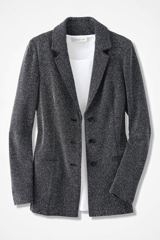 Stretch Tweed Knit Jacket, Black/White, large