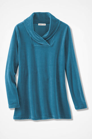 Velour du Jour Shawl Collar Tunic, Mallard Blue, large