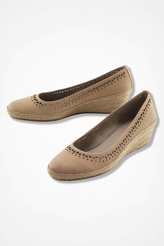 """Derely"" Nubuck Leather Wedges by Easy Spirit®, Tan, large"