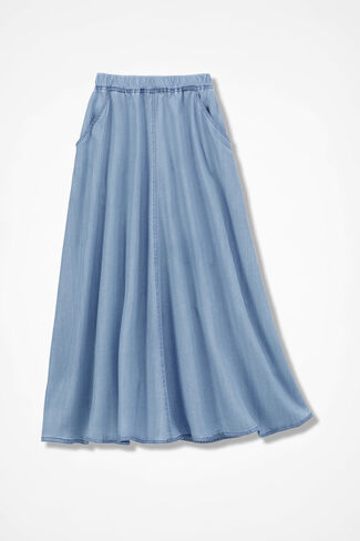Tencel® Easy Pull-On Skirt, Light Indigo, large