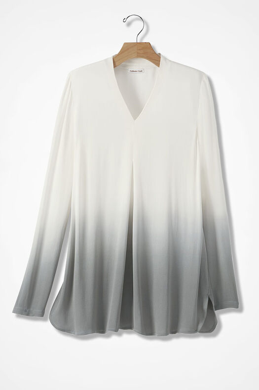 Inverted Pleat Ombré Tunic, Ivory/Pewter, large