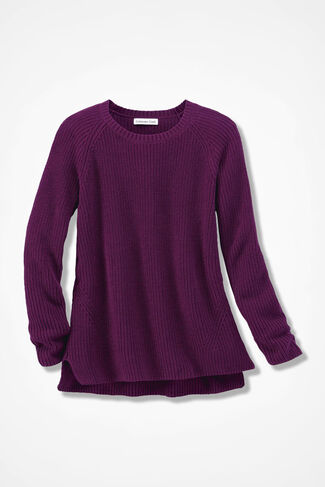 NEW! Shaker High/Low Pullover, Mulberry, large