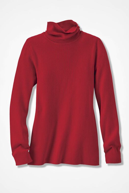 Ribbed Turtleneck Sweater, Fresh Red, large