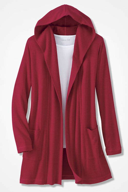 Dream-Soft Plush Hooded Duster, Dover Red, large