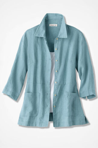 Easy Linen Shirt Jacket, Robins Egg, large