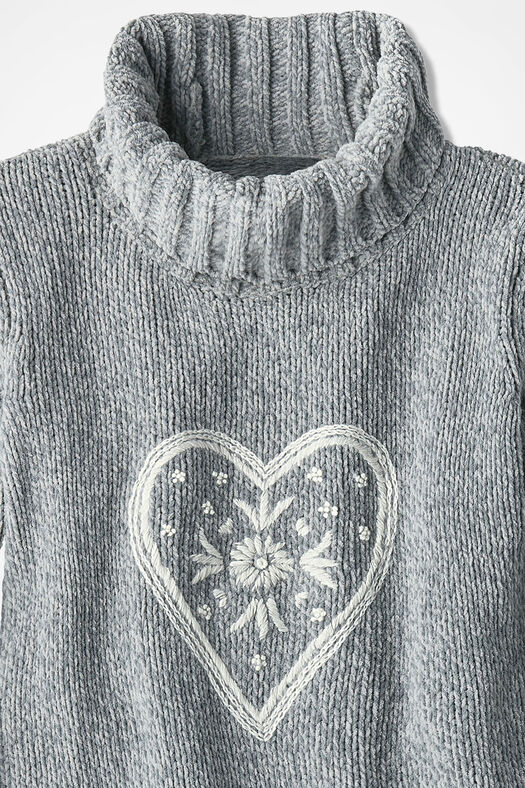 Here's My Heart Chenille Pullover, Mid Heather Grey, large