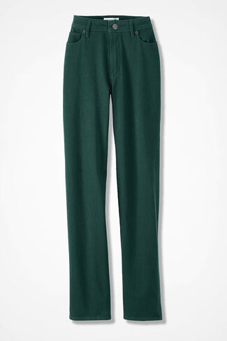 Knit Denim Straight-Leg Jeans, Forest, large