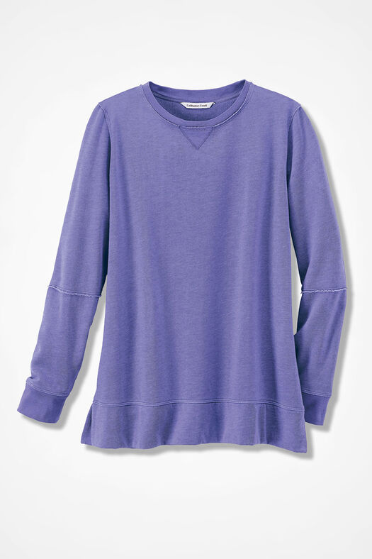 Colorwashed Fleece Pullover, Dahlia Purple, large
