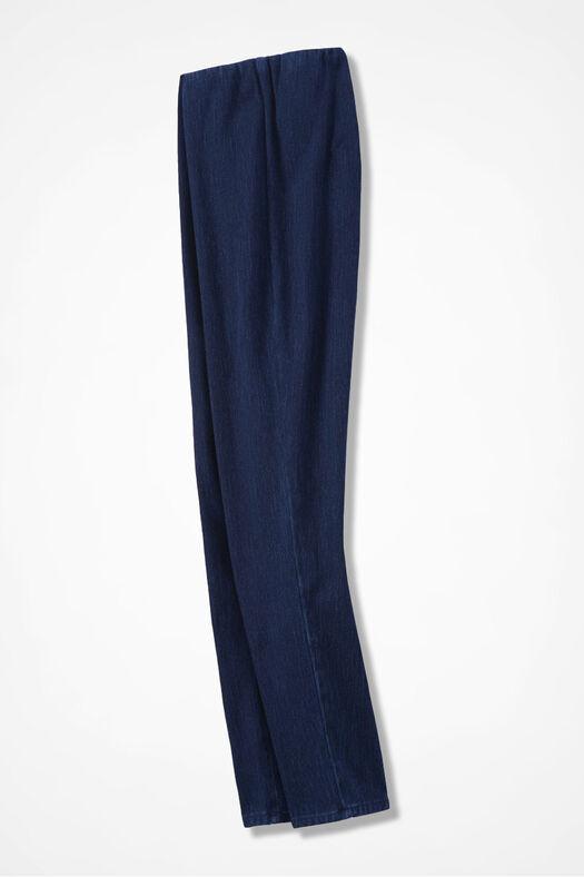 Knit Denim Cropped Slim-Leg Leggings, Dark Wash, large