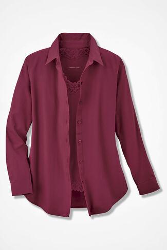 Long-Sleeve Easy Care Shirt, Garnet, large