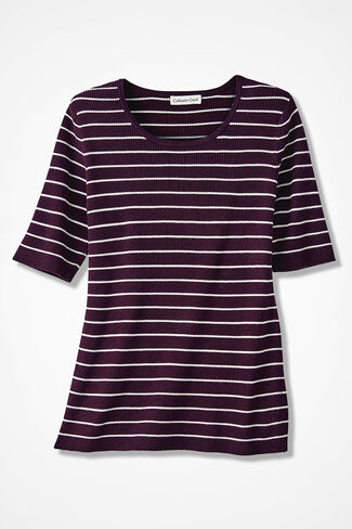 Striped Ribbed Elbow-Sleeve Sweater, Blackberry, large