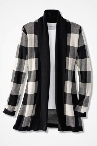 Buffalo Check Cardigan, Ivory, large
