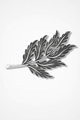 Forever Fall Leaf Pin, Silver, large