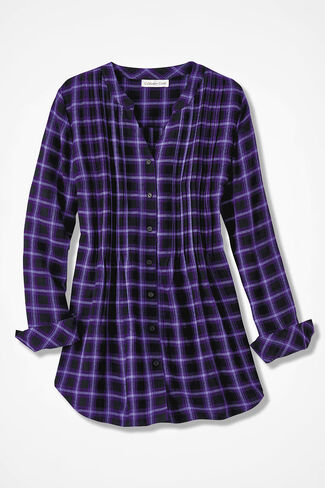 Purple Plaid Tunic, Dark Purple Multi, large