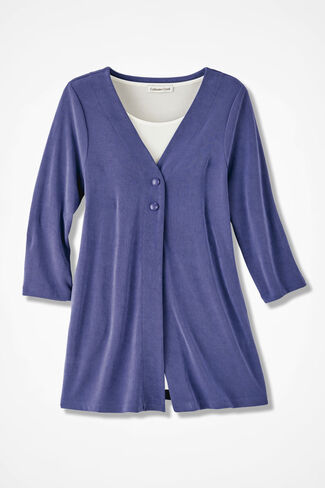 Destinations Two-Button Cardigan, Thistle, large