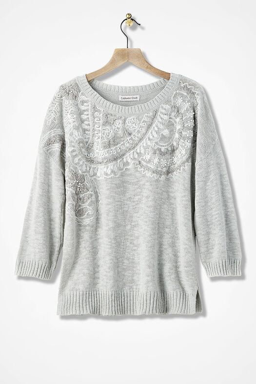 Scrolls and Swirls Embroidered Sweater, Light Heather Grey, large
