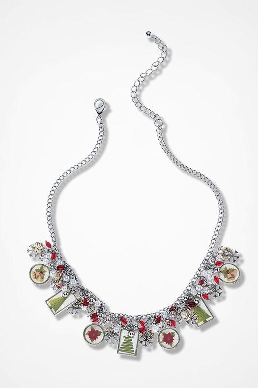 Winterfest Charm Necklace, Silver Multi, large