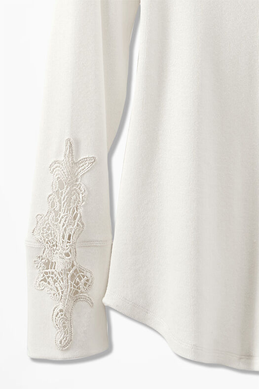 Embroidered Henley PJ Top, Ivory, large