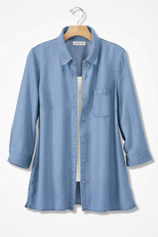 Tencel® Twill Big Shirt, Light Indigo, large