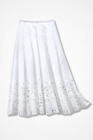 Floral Eyelet Skirt, White, large