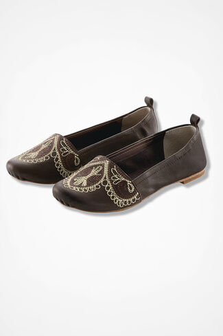 """Barlowe"" Leather Flats by Latigo®, Brown, large"
