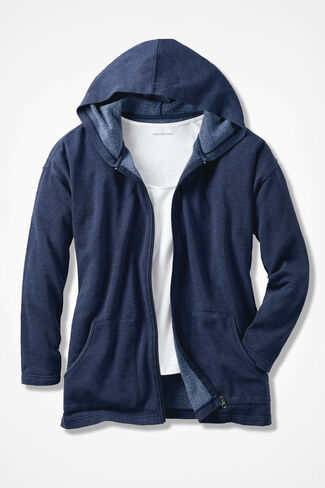 Colorwashed Fleece Full-Zip Jacket, Navy, large