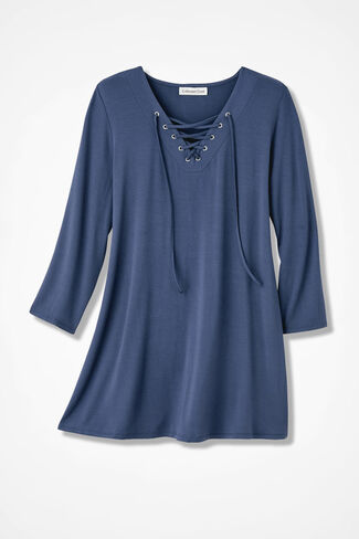 Lace-It-Up Tunic, Ranch Blue, large