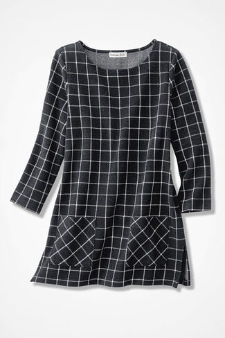 Windowpane Textured Knit Tunic, Black, large