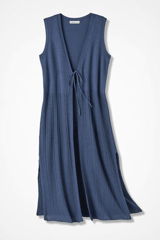 Twin-Textured Duster Vest, Ranch Blue, large