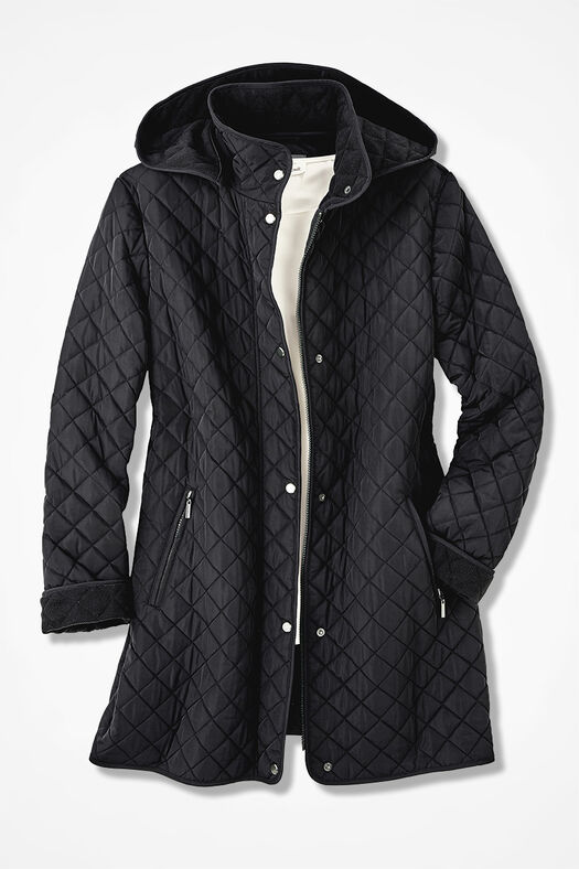 Hooded Quilted Car Coat, Black, large