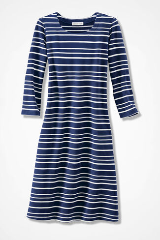 Striped Simply Charming Skimmer Dress, Blue Multi, large